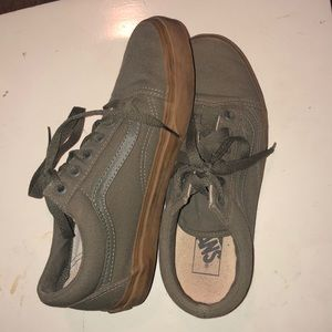 Olive colored lace up vans